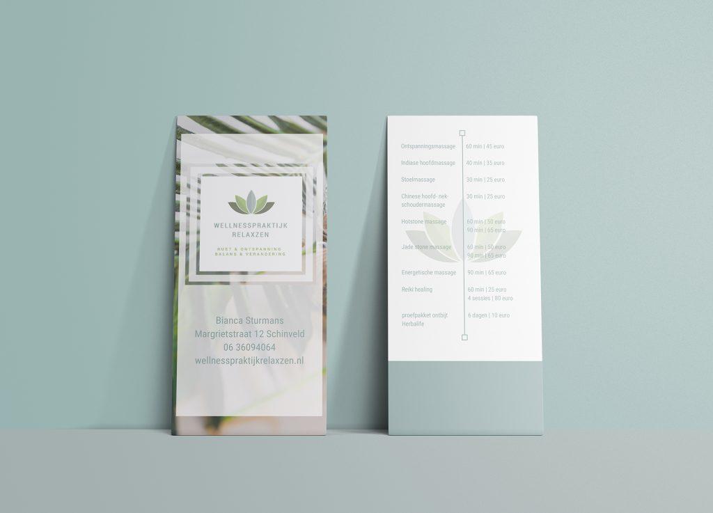 flyer gemaakt voor Wellnesspraktijk Relaxzen door Mazgon Design